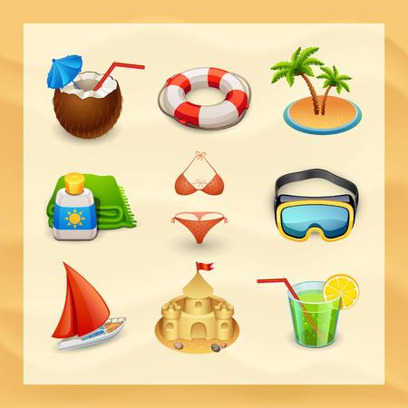 beach icon set-2 Stock Illustratie