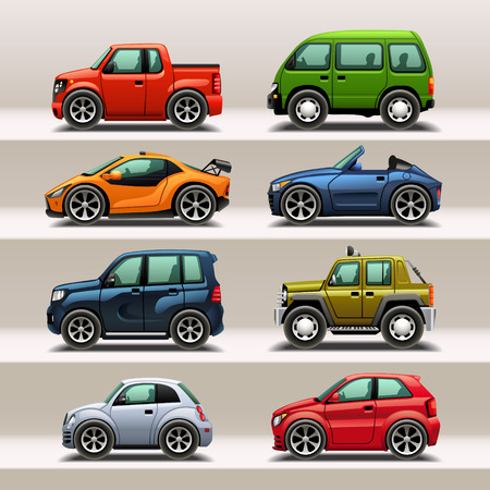 transport icon: car icon set Illustration