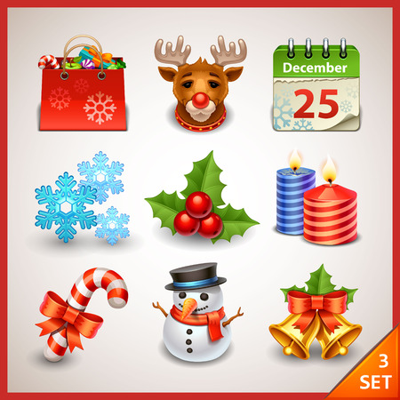 holly day: Christmas icon set-3