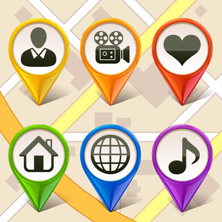 colorful map markers-set 2 Vector