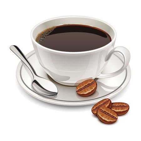chicchi di caffè: tazza di caff? Vettoriali