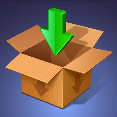 tare: download icon. open box