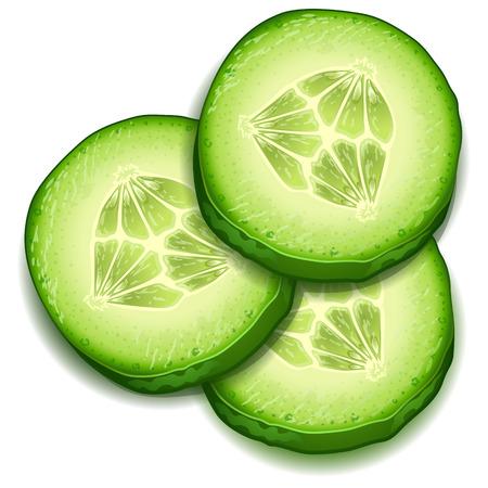 Verse komkommer slice geïsoleerd op een witte achtergrond-vector