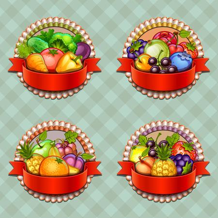 fruit vegetables: Fruits and vegetables labels set