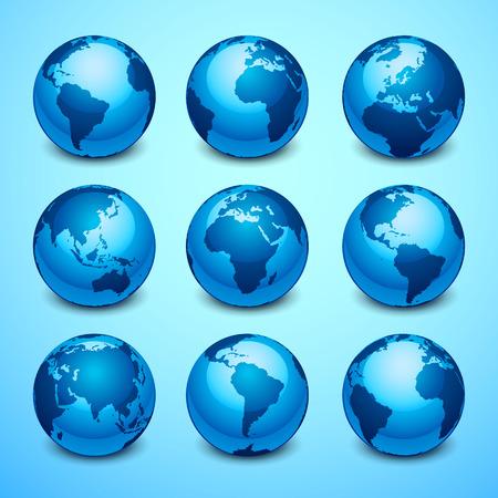 Globe icons Vectores