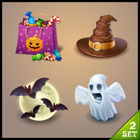 brujas caricatura: Halloween Iconos-set 2