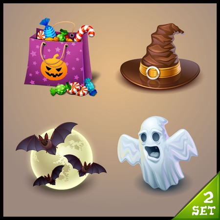 cute ghost: halloween icons-set 2