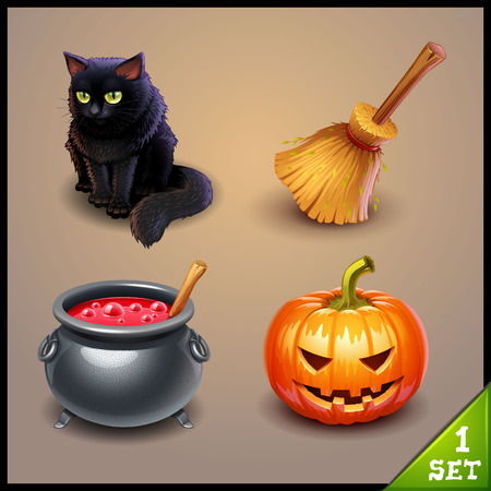 pink and black: halloween icons-set 1