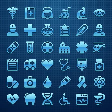 emergencia medica: Médico conjunto de iconos Vectores