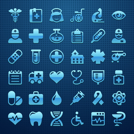medical emergency service: Medical icon set