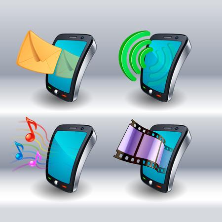 iconos de teléfonos móviles Ilustración de vector