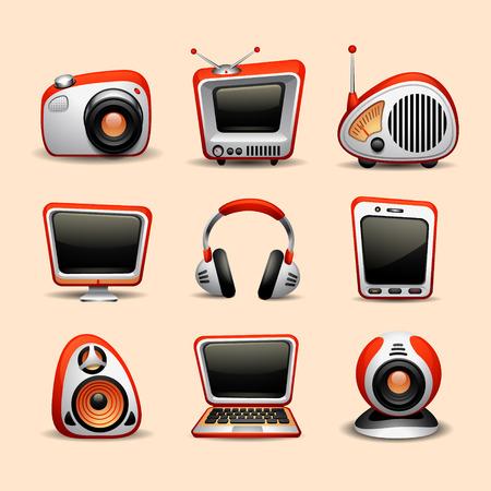 musica electronica: los iconos de multimedia Vectores