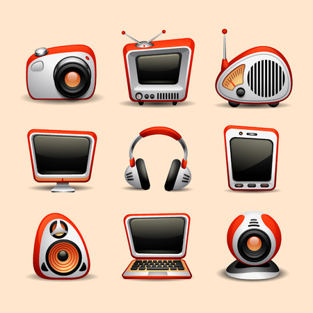 internet radio: multimedia icons Illustration