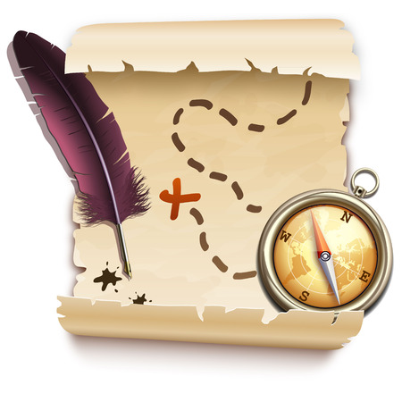 treasure hunt: old map with a compass