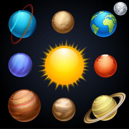 sol y luna: planetas Vectores