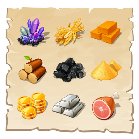 resource pictogrammen voor games Stock Illustratie