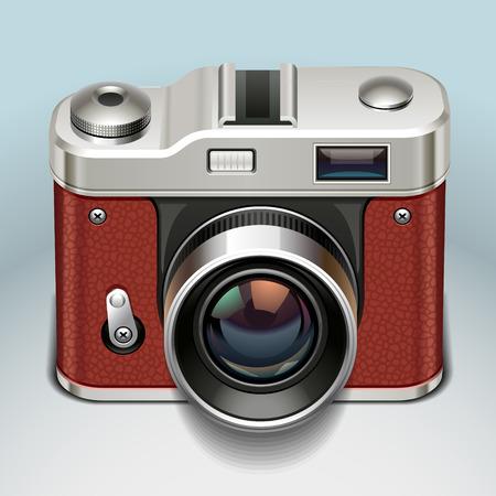 color digital camera: retro camera icon Illustration