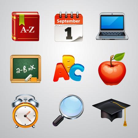 apple computer: School icons-set 2