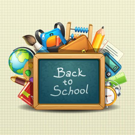 mochila escolar: ilustraci�n de la escuela