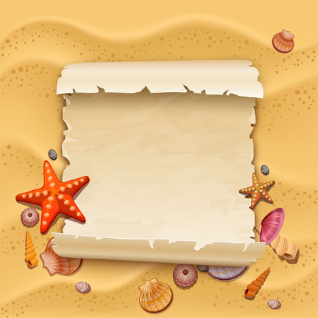 sea shells with sand as background Vectores