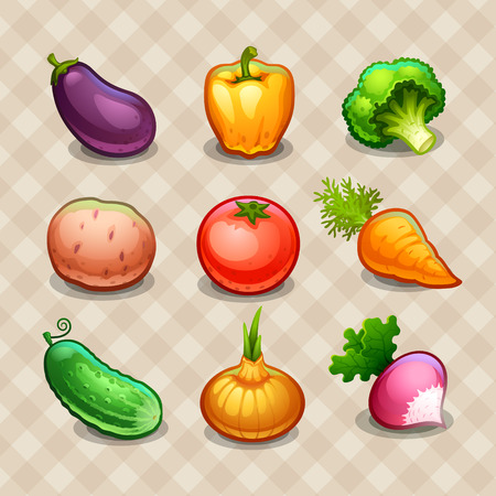 cartoon tomato: Set of vegetables