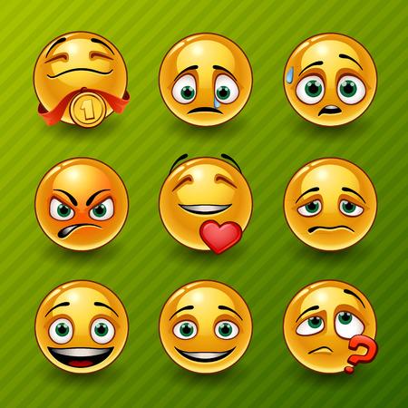 cara sonriente: Conjunto de emoticones Vectores