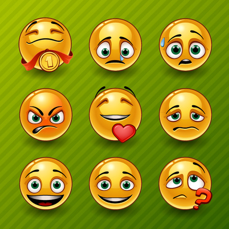 sad cartoon: Set of smileys Illustration