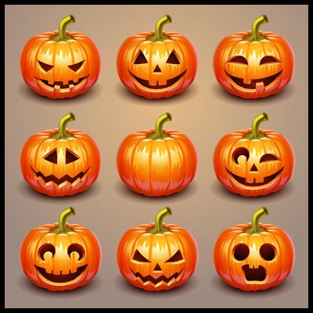 Vector Feliz Calabaza De Halloween Conjunto De Elementos Para