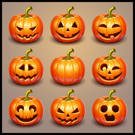 halloween symbol: Set pumpkins for Halloween Illustration