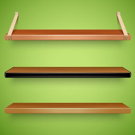 estanterias: estantes de madera Vectores