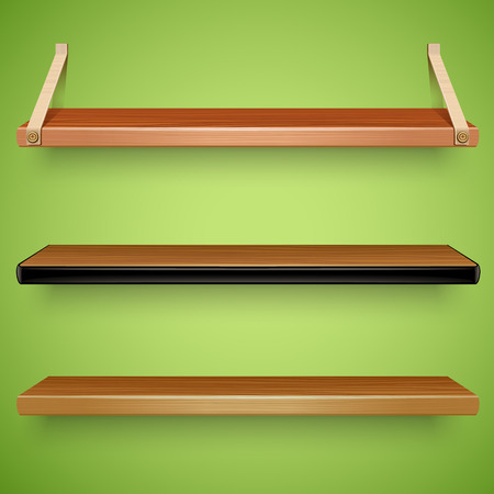 shelves: wooden shelves Illustration