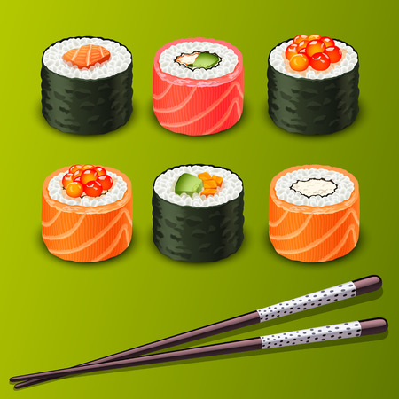 sushi restaurant: sushi set icons
