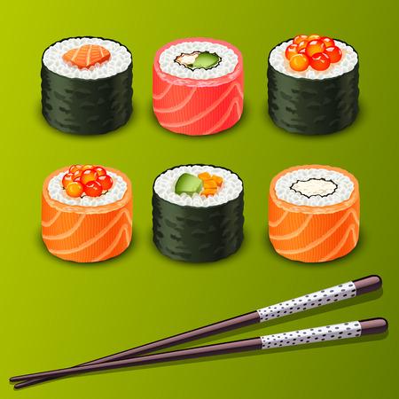 maki sushi: sushi set icons