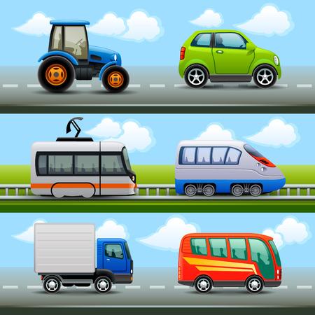 tren caricatura: iconos de transporte en la carretera