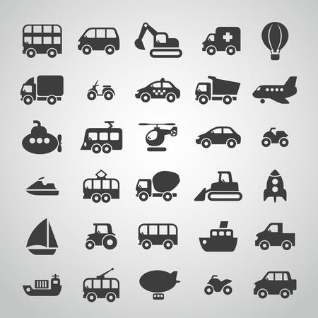 수송: 교통 아이콘 집합