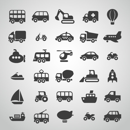Transport zestaw ikon