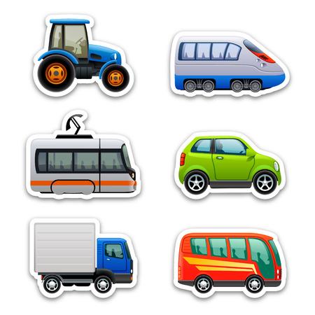 carro caricatura: iconos de transporte Vectores
