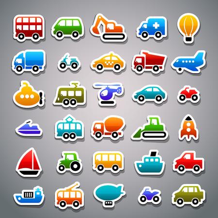 iconos de transporte pegatinas Ilustración de vector