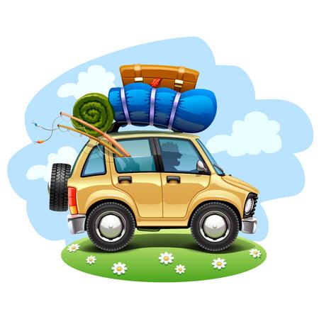 bagagli: auto viaggi Vettoriali