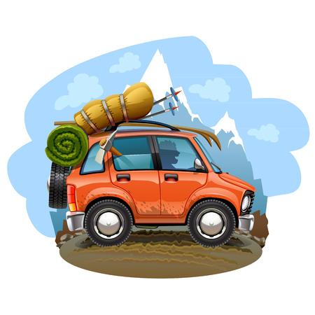 dirt road: travel car illustration
