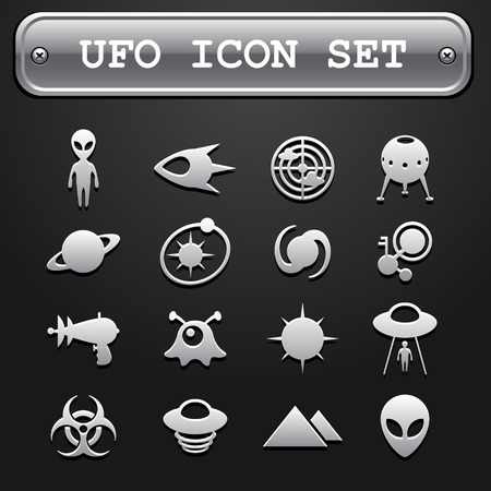 UFO icon set Illustration