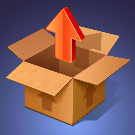 10eps: upload icon. open box