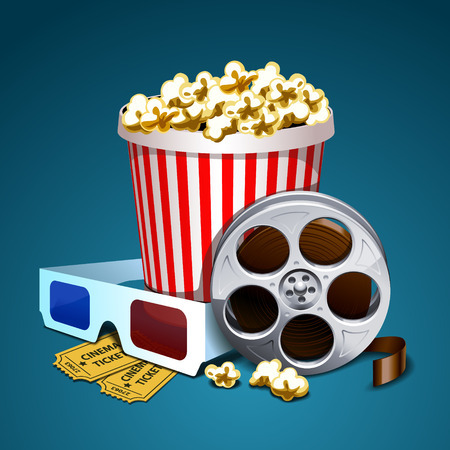 movie and popcorn: Vector illustration of cinema Illustration