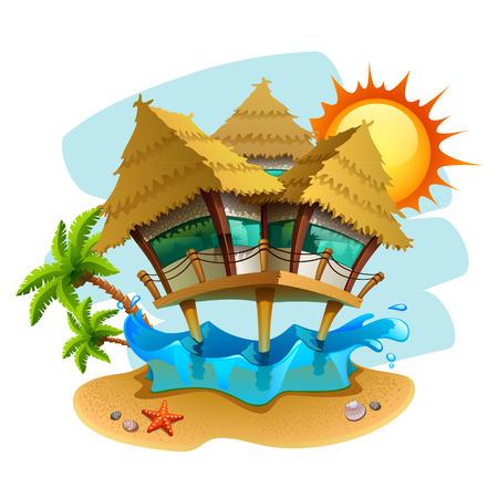 bungalow aan het water illustratie