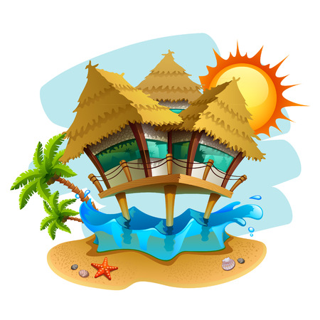 water bungalow illustration