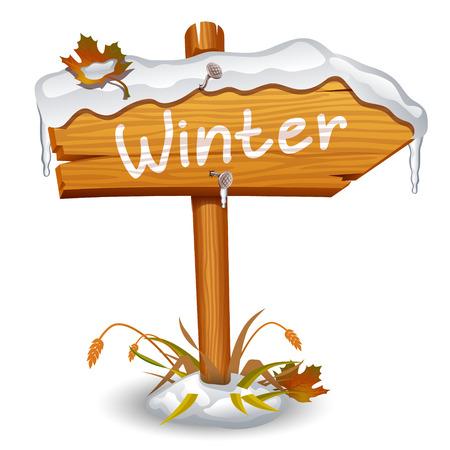 Winter wooden arrow board Vector