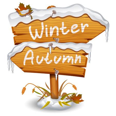 Winter wooden arrow icon Vector