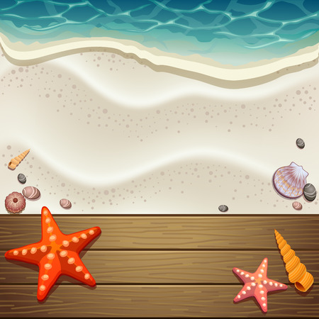 wood and sand background Illustration