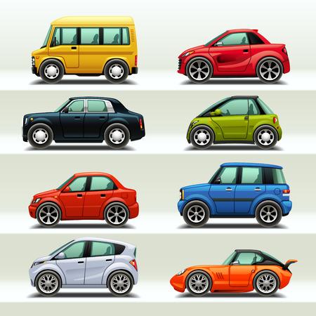 carritos de juguete: Icono del coche de set-3 Vectores