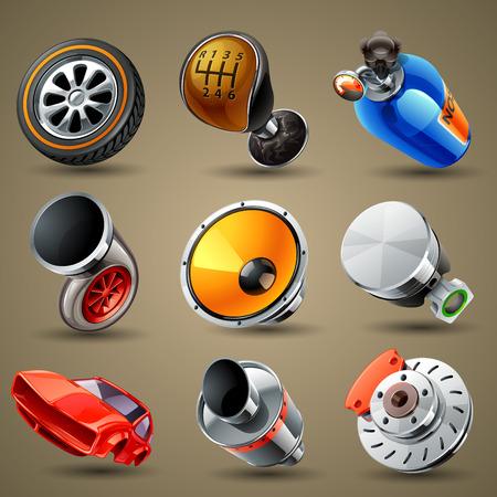 onderhoud auto: Auto-onderdelen en diensten pictogrammen